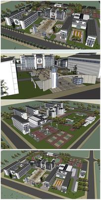 中学建筑整体规划SU模型 skp