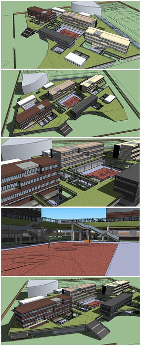 中学建筑整体规划SU模型