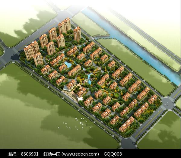 住宅区景观规划鸟瞰图图片