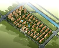 住宅区景观规划鸟瞰图