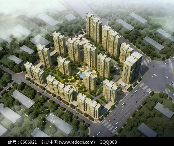 住宅区景观规划设计鸟瞰效果图图片