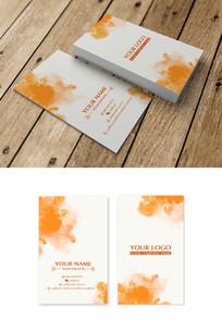 橙色喷溅渲染名片设计