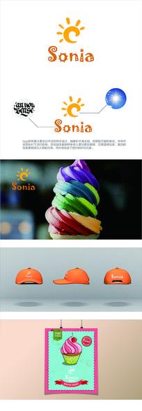 卡通欧美风格甜点食物logo