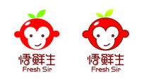 卡通苹果猴形象水果行业标志