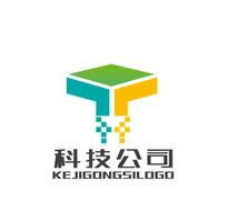 科技公司T字标志logo