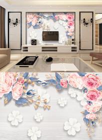 3D时尚现代手绘花背景墙