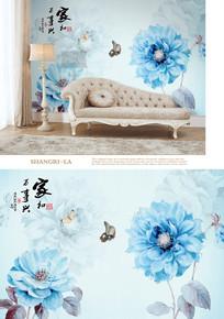 北欧手绘抽象油画花朵背景墙
