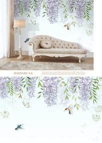 北欧手绘紫藤花鸟电视背景墙