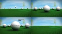 草地高尔夫球上面LOGO文字