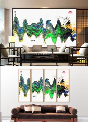 高端大气抽象水墨山水装饰画