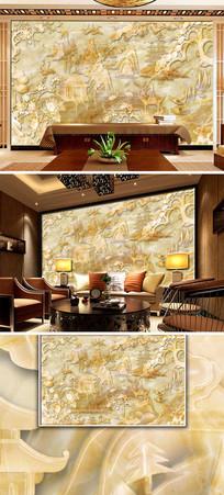 古典庭院风景大理石纹背景墙