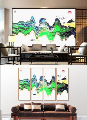 简约抽象水墨山水装饰画