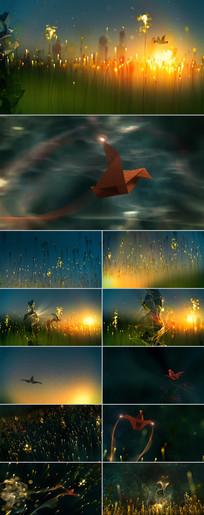 金黄粒子线条飞鸟光线视频
