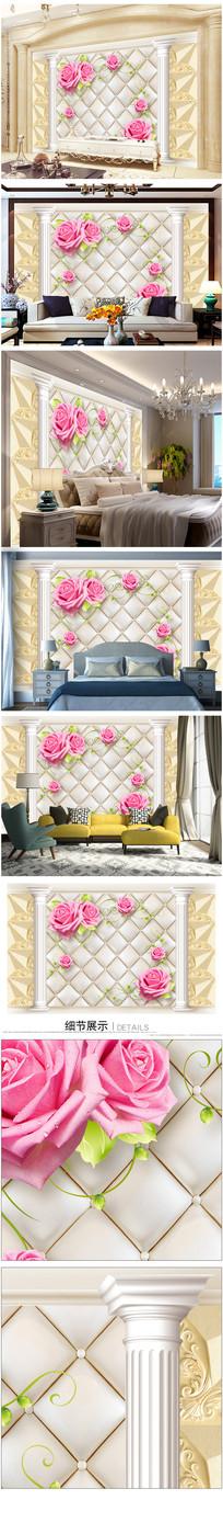 欧式花朵软包背景墙