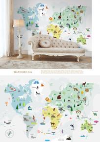 手绘卡通动物地图儿童房背景墙