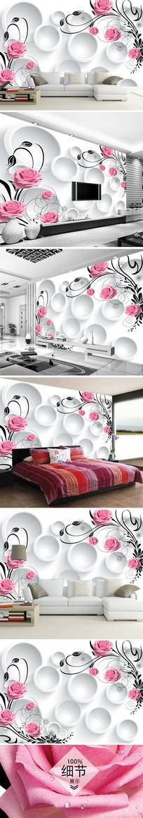 现代粉红玫瑰花电视背景墙