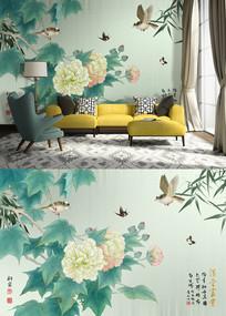 新中式牡丹花鸟电视背景墙