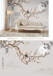新中式手绘梅花小鸟山水背景墙