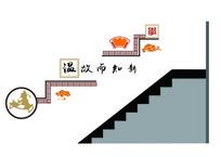 学校中式楼梯文化墙面设计