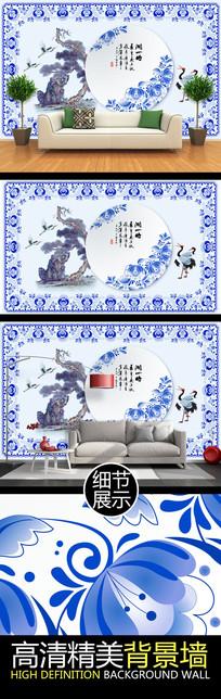 中国风青花瓷文化艺术背景墙