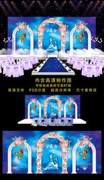 精品婚礼舞台背景 PSD