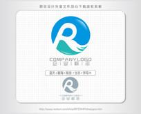 R字母水海浪标志logo设计