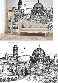 北欧复古建筑街景沙发背景墙