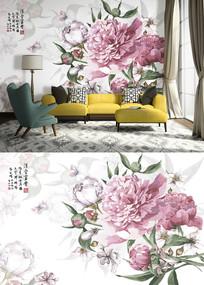 北欧手绘清新花卉电视背景墙