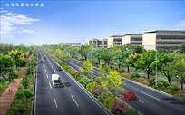 标准段道路景观效果图