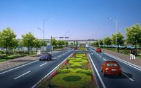 标准路段绿化设计透视 JPG