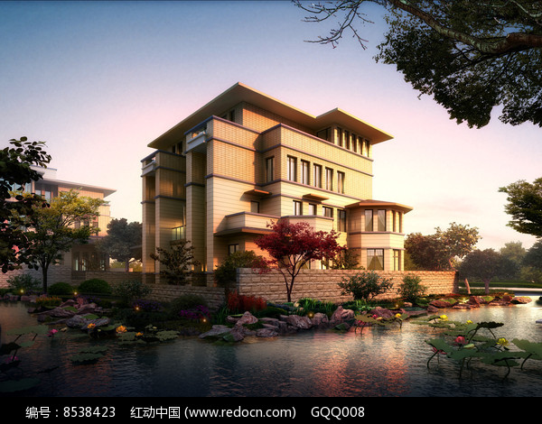 滨水别墅景观设计效果图图片