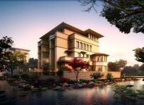 滨水别墅景观设计效果图