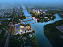 滨水广场景观设计鸟瞰效果