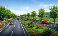 城市路段绿化景观效果 JPG