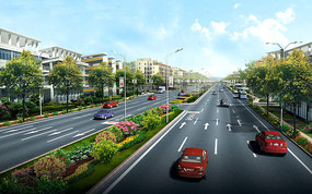 道路景观提升透视图 JPG
