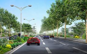 道路绿化效果图