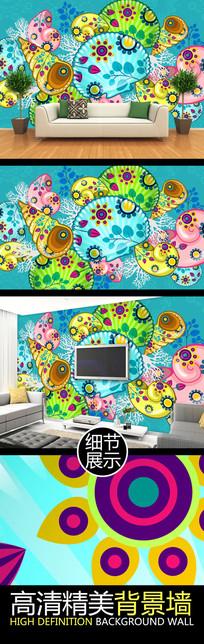 缤纷海螺艺术图案电视背景墙