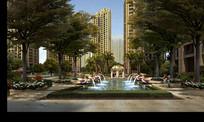 高档住宅喷泉水景设计效果图