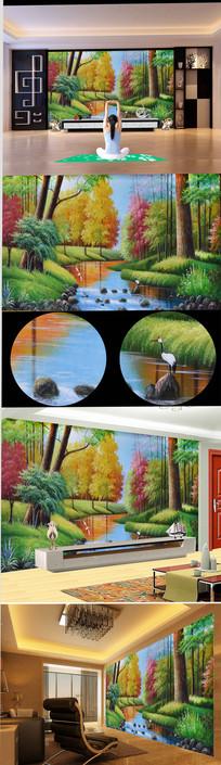 高清彩色森林流水油画