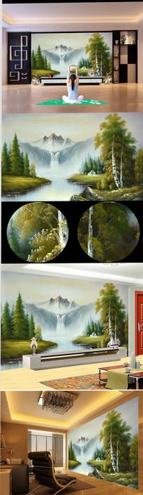 高清立体高山流水风景油画