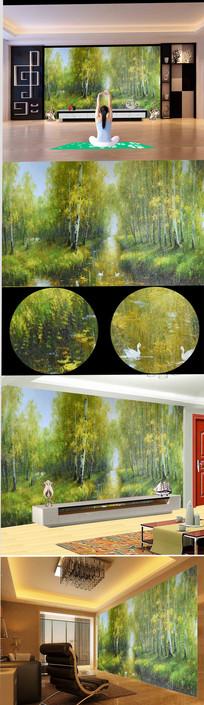 高清手绘新中式公园风景油画
