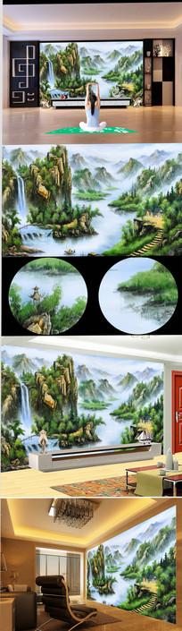 高清手绘中国桂林山水风景油画