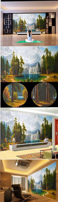 高清雪山瀑布森林油画背景墙