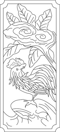 公鸡花卉雕刻图案