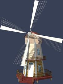 花园木屋风车