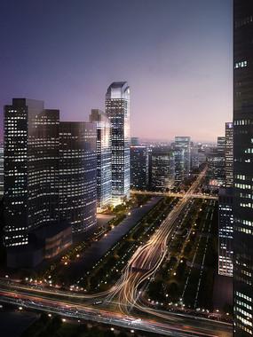 贵阳某大道建筑效果图行业园林室内设计效果图大型商业区高层建筑一角设计师是什么客厅图片