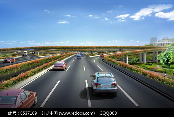 机场立交桥绿化设计透视图图片