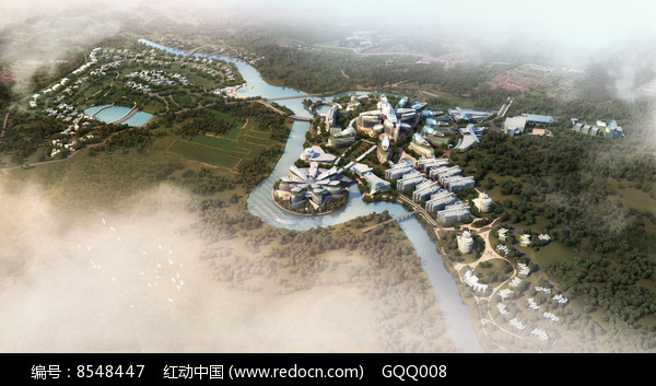 科技园区景观设计鸟瞰图图片