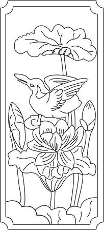 莲花仙鹤雕刻图案