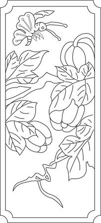南瓜蜜蜂雕刻图案